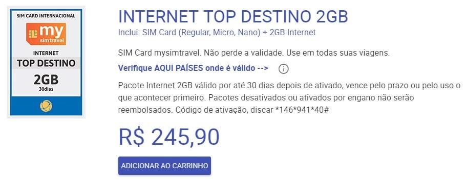 Chip Pré Pago: Plano de internet para a América do Sul
